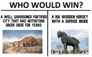 Who would win ?: WHO WOULD WIN?  A WELL GARRISONED FORTIFIED  CITY THAT HAS WITHSTOOD  GREEK SIEGE FOR YEARS  A BIG WOODEN HORSEY  WITH A SUPRISE INSIDE  TROY  VOA Who would win ?