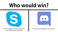 Memes, Corporation, and Company: Who would win?  A widely recognized company backed by a  multi-million dollar corporation  Some random startup that makes memes me💬irl