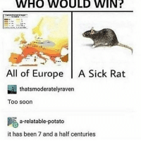 Animals, Dogs, and Memes: WHO  WOULD  WIN?  All of Europe A Sick Rat  thatsmoderatelyraven  Too soon  atable-potato  it has been 7 and a half centuries what kind of posts do yall like to see?? idk if anyone remembers but i used to post a column of pics of peoples pets and the rest were memes of animals (mostly dogs bc the username was fatdogblog) and it was a lot of fun so i was wondering if i should freshen up this account and do thqt again?? idk help me out