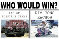 Russia, Who, and Tanks: WHO WOULD WIN?  ALL OF  RUSSIA' S TANKS  KIM JONG  KACHOW  prossed  4 <p>⚡️KACHINK⚡️</p>