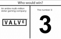 Valve. Can't. Count. To. 3... - FOLLOW @the_lone_survivor for more - - PS4 xboxone tlou Thelastofus fallout fallout4 competition competitive falloutmemes battlefield1 battlefield starwars battlefront game csgo counterstrike gaming videogames funny memes videogaming gamingmemes gamingpictures dankmemes recycling csgomemes cod: Who would win?  An entire multi-million  dollar gaming company  The number3  3  VALVE Valve. Can't. Count. To. 3... - FOLLOW @the_lone_survivor for more - - PS4 xboxone tlou Thelastofus fallout fallout4 competition competitive falloutmemes battlefield1 battlefield starwars battlefront game csgo counterstrike gaming videogames funny memes videogaming gamingmemes gamingpictures dankmemes recycling csgomemes cod