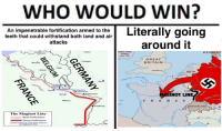 "Crazy, Irish, and Memes: WHO WOULD WIN?  An impenetrable fortification armed to the  teeth that could withstand both land and air  attacks  around it  IRISH FREE  STATE  eter 1922  Essen  DENMAR  GREAT  BRITAIN  Namur  NETH  GLISH CHANNEL  LU  NOT LINE  Metz .  Nancy  OF  F R A N CE  SWITZERLAND  The Maginot Line  Strong fortifications <p>I&rsquo;m shorting historical memes like crazy via /r/MemeEconomy <a href=""http://ift.tt/2qW4nAP"">http://ift.tt/2qW4nAP</a></p>"