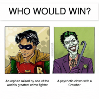 Batman, Crime, and Memes: WHO WOULD WIN?  An orphan raised by one of the  world's greatest crime fighter  me fighterA  A psychotic clown with a  Crowbar The answer may shock you! 😂 dccomics thejoker Robin jasontodd batman geek