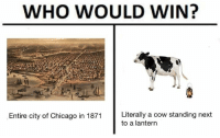 Chicago, Classical Art, and Cow: WHO WOULD WIN?  Entire city of Chicago in 1871 Literally a cow standing next  to a lantern