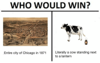 Chicago, Cow, and Next: WHO WOULD WIN?  Entire city of Chicago in 1871 Literally a cow standing next  to a lantern https://t.co/Iv2iJDgWXF