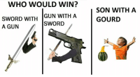 gourds: WHO WOULD WIN?  GUN WITH A  SWORD WITH  SWORD  A GUN  SON WITH A  GOURD