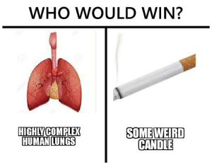 Smoking is not cool. 😎🚬 by achint_s MORE MEMES: WHO WOULD WIN?  HIGHLY COMPLEX  HUMAN LUNGS  SOME WEIRD  CANDLE Smoking is not cool. 😎🚬 by achint_s MORE MEMES