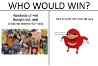 Who Would Win: WHO WOULD WIN?  Hundreds of well  thought out, and  creative meme formats  One brodda dat noes de wey  Click click click click  Click click click click