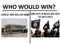Sex, Who, and Goats: WHO WOULD WIN?  LARGEST NON-NUCLEAR BOMB SOME GUYS IN MASKS WHo HAVE  SEX WITH GOATS <p>🅱IG 🅱AD M.O.A.🅱</p>