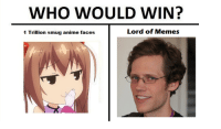 its a stalemate ~danku: WHO WOULD WIN?  Lord of Memes  1 Trillion smug anime faces its a stalemate ~danku