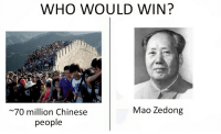 "Memes, Chinese, and Good: WHO WOULD WIN?  Mao Zedong  70 million Chinese  people <p>Who would win memes slowly rising. Might be a good time to invest via /r/MemeEconomy <a href=""http://ift.tt/2l0gwm5"">http://ift.tt/2l0gwm5</a></p>"