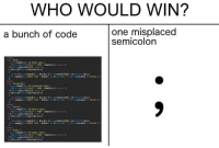 Who Would Win: WHO WOULD WIN?  one misplaced  a bunch of code  semicolon  ILO  get result(O)  Stable,  ORACLE dato  ->get result O  SELECT