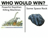 Space, Powerful, and Rock: WHO WOULD WIN?  Powerful Reptilian Some Space Rock  illing Machines