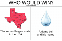 Texas, Austin, and Usa: WHO WOULD WIN?  /r/dankmemes  Amarito  Red  B200 Aiver  Lubbock  TEXAS Fot Woth  Alirg on  El Pano  Cobrado River  Beeumon  Austin  Pecos River  San  Copus Chret  Grande  The second largest state  in the USA  A damp boi  and his matesS