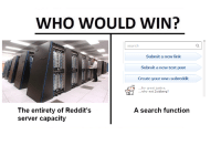"""Memes, Http, and Justice: WHO WOULD WIN?  search  Submit a new link  Submit a new text post  Create your own subreddit  ...for great justice.  ...why not Zoidberg?  A search function  The entirety of Reddit's  server capacity <p>&ldquo;but please don&rsquo;t mash reload; that only makes the problem worse.&rdquo; via /r/memes <a href=""""http://ift.tt/2psh1Ei"""">http://ift.tt/2psh1Ei</a></p>"""
