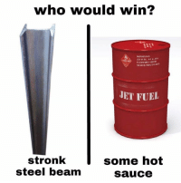 Its that time again: who would win?  SILAFER-PRT22  JET FUEL  stronk  steel beam  some hot  sauce Its that time again