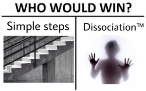 Meme, Tumblr, and Simple: WHO WOULD WIN?  Simple steps DissociationTM dissociation meme   Tumblr