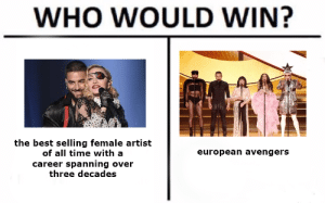 Who Would Win: WHO WOULD WIN?  the best selling female artist  of all time with a  european avengers  career spanning over  three decades