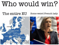 Memes, Weird, and France: Who would win?  The entire EU  Some weird French lady  LAT  DENMAR  LITHUANIA  ID  UK  HERLANDS POLAND  GERMANY  IUM  CZECH  STRI  FRANCE  HUNGARY  OVENIA ROMANIA  ITALY  LGARIA MAGA MAN