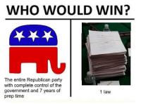 Memes, Party, and Politics: WHO WOULD WIN?  The entire Republican party  with complete control of the  government and 7 years of  prep time  1 law The GOP needs to get its ducks in a row. - 📊Partners📊 🗽 @nathangarza101 🗽 @givemeliberty_or_givemedeath 🗽 @libertarian_command 🗽 @minarchy 🗽 @radical.rightist 🗽 @minarchistisaacgage860 🗽 @together_we_rise_ 🗽 @natural.law.anarchist 🗽 @1944movement 🗽 @libertarian_cap 🗽 @anti_liberal_memes 🗽 @_capitalist 🗽 @libertarian.christian 🗽 @the_conservative_libertarian 🗽 @libertarian.exceptionalist 🗽 @ancapamerica 🗽 @geared_toward_liberty 🗽 @political13yearold 🗽 @free_market_libertarian35 - 📜tags📜 libertarian freedom politics debate liberty freedom ronpaul randpaul endthefed taxationistheft government anarchy anarchism ancap capitalism minarchy minarchist mincap LP libertarianparty republican democrat constitution 71Republic 71R