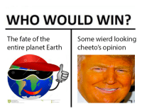 Cheetos, Earth, and Fate: WHO WOULD WIN?  The fate of the  entire planet Earth  Some wierd looking  cheeto's opinion <p>The🅱️aris deal is a 🅱️hinese in🅱️ention</p>