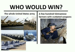 Army, United, and Vietnamese: WHO WOULD WIN?  The whole United States army  A few hundred Vietnamese  farmers with outdated weapons