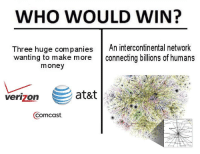 Intercontinental: WHO WOULD WIN?  Three huge companiesAn intercontinental network  Three huge com panies  wanting to make more  connecting billions of humans  money  at&t  verizon  Comcast