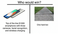 Memes, 🤖, and Boi: Who would win?  Top of the line $1000  smartphone with three  cameras, facial recognition,  and wireless charging  One hard boi
