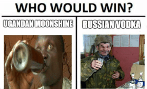 a cold one: WHO WOULD WIN?  UGANDAN MOONSHINE  RUSSIAN VODKA a cold one