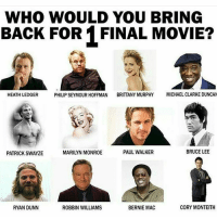 Memes, Michael Clarke Duncan, and Paul Walker: WHO WOULD YOU BRING  BACK FOR 1 FINAL MOVIE?  PHILIP SEYMOUR HOFFMAN BRITTANY MURPHY MICHAEL CLARKE DUNCAN  HEATH LEDGER  BRUCE LEE  PAUL WALKER  MARILYN MONROE  PATRICK SWAYZE  CORY MONTEITH  ROBBIN WILLIAMS  RYAN DUNN  BERNIE MAC Who would you pick? nerd geek marvel avengers ironman captainamerica spiderman doctorstrange thor hulk dc batman superman wonderwoman flash justiceleague joker anime starwars thewalkingdead xmen pokemon