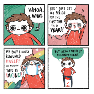 [OC] infertility problems: WHOA.  WHAT.  DID 1 JUST GET  My PERIOD  FOR THE  FIRST TIME  IN A  YEAR?!  IT'SMEG  MY BODY FINALLY  REGULATED  ITSELF!!  BUT ALSO ENTIRELY  INCONVENIENT.  OH MY GOSH  THIS IS  AMAZING!! [OC] infertility problems