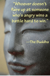 """Buddha: """"Whoever doesn't  are up at someone  who's angry wins a  battle hard to win.""""  The Buddha"""