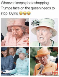 Memes, News, and Queen: Whoever keeps photoshopping  Trumps face on the queen needs to  stop! Dying eta LIKE our page Feminist News for more!