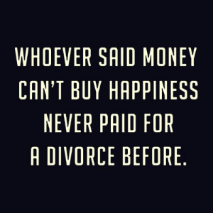 DV6: WHOEVER SAID MONEY  CAN'T BUY HAPPINESS  NEVER PAID FOR  A DIVORCE BEFORE DV6