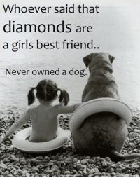 Best Friends Forever: Whoever said that  diamonds are  a girls .  best friend  Never owned a dog. Best Friends Forever