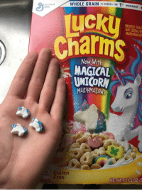 <p>Expectations VS Reality - Most of the shapes matched the one on the box</p>: WHOLE GRAIN IS ALWAYS THE 1ST INGREDIENT  General  Mill  LICKi  Charms  FROSTED TOAST  OAT CEREAL VW  MARSHMALLO  Now With  MAGICAL  UNICORN  MAR HMALLOW  Gluten  Free  NET WT 11.5  0Z(3 <p>Expectations VS Reality - Most of the shapes matched the one on the box</p>