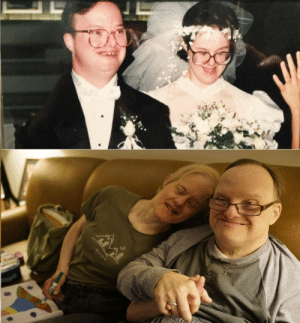 Down Syndrome, Wholesome, and 25 Years: Wholesome Couple. Couple with down syndrome told not to marry got married anyways. 25 years later they are still together via /r/wholesomememes https://ift.tt/2NbYsTW