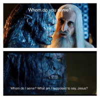Jesus, The Ring, and Ring: Whom do vou serve?  Whom do serve? What am I supposed to say, Jesus? Watching Fellowship Of The Ring and this line stood out to me.