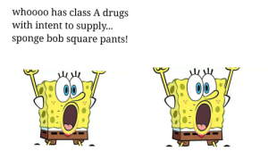 Drugs, SpongeBob, and Square: whoooo has class A drugs  with intent to supply...  sponge bob square pants! A parody of the spongebob square pants tune.