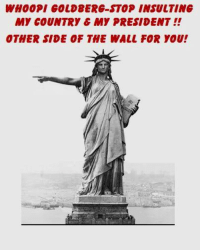 America, Memes, and The View: WHOOPI COLD8ERG-STOP INSULTING  MY COUNTRY C MY PRESIDENT  OTHER SIDE OF THE WALL FOR YOU! Enough of The View Insulting America & Her President. That's all these women do! The campaign is over. Whoopi is a liar! She said she would leave the USA if Trump won. He's now the Pres of the USA so pack your bags or stop trying to stick around to cause trouble! We don't need your kind!