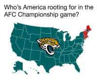Today the #Jaguars are #AmericasTeam  #AFCChampionship https://t.co/7TWBiRTl5h: Who's America rooting for in the  AFC Championship game? Today the #Jaguars are #AmericasTeam  #AFCChampionship https://t.co/7TWBiRTl5h
