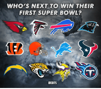 Football, Memes, and Nfl: WHO'S NEXT TO WIN THEIR  FIRST SUPER BOWL?  OEDITS There are 12 teams left who haven't won a Super Bowl... who's next to break the drought?? 👇 - NFL SuperBowl Drought Champs Team Football