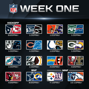 Who's ready for WEEK ONE?!  📺: 2020 NFL Schedule Release live now on @NFLNetwork https://t.co/JHeDn99uv2: Who's ready for WEEK ONE?!  📺: 2020 NFL Schedule Release live now on @NFLNetwork https://t.co/JHeDn99uv2