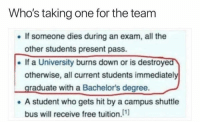 """Dank, Meme, and Free: Who's taking one for the team  If someone dies during an exam, all the  other students present pass.  If a University burns down or is destroye  otherwise, all current students immediately  raduate with a Bachelor's degree.  .A student who gets hit by a campus shuttle  bus will receive free tuition.[1) <p>Real karma via /r/dank_meme <a href=""""http://ift.tt/2j8mgIa"""">http://ift.tt/2j8mgIa</a></p>"""
