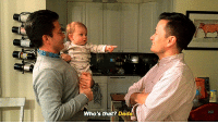 the-absolute-best-memes: baby gets adorable confused by his dad's twin brother: Who's that? Dada the-absolute-best-memes: baby gets adorable confused by his dad's twin brother