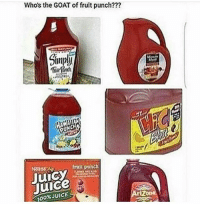 Anaconda, Juice, and Memes: Whos the GOAT of fruit punch???  Thi  No386  frult punch  Juice  100% JUICE Minute Maid