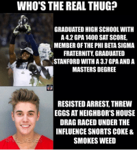 Who's the real thug?: WHO'S THE REAL THUG?  GRADUATED HIGH SCHOOL WITH  A 42 GPA 1400 SAT SCORE,  MEMBER OF THE PHI BETASIGMA  FRATERNITY GRADUATED  STANFORD WITHA 3.1 GPA AND A  MASTERSDEGREE  RESISTED ARREST THREW  EGGS AT NEIGHBOR'S HOUSE  DRAG RACED UNDER THE  INFLUENCE SNORTS COKE &  SMOKES WEED Who's the real thug?