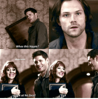 Memes, Mean, and Supernatural: Whos this hippie?  @winchestrs  pk at his face! [12.11] This part was so mean 😂 poor Sammy 😂 QOTD: whats the last song you listened to? . Aotd: 2!3! By BTS . . . . . . . . supernatural spn spnfamily cw destiel jensenackles jaredpadalecki mishacollins deanwinchester samwinchester castiel cas akf season12 ruthconnell rowena