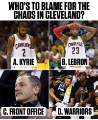 Cleveland Cavaliers, Memes, and Cavaliers: WHO'S TO BLAME FOR THE  CHAOS IN CLEVELAND?  CAVALIERS  23  CAVALIER  A. KYRIEB.LEBRON  CIAM  Go  WA  C. FRONT OFFICED. WARRIORS Comment with your pick ⬇️