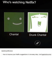 Drunk, Memes, and Netflix: Who's watching Netflix?  Chantal  Drunk Chantal  tastefully offensive:  How to improve your Netflix suggestions in one easy step. (via fugaziozbourne)